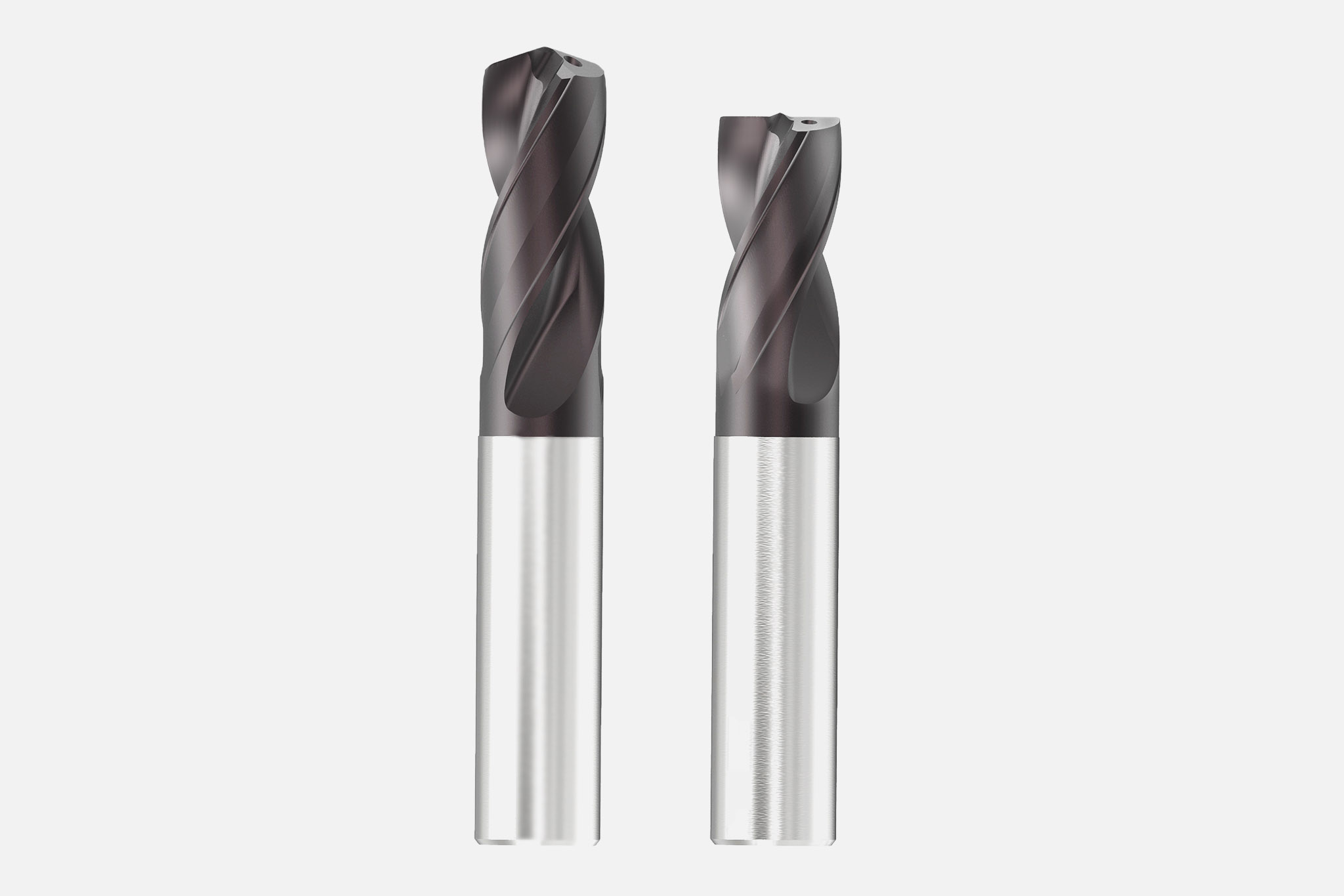 Solid carbide drill with innovative coating from MAPAL for machining the bit inserts of rock drilling tools.